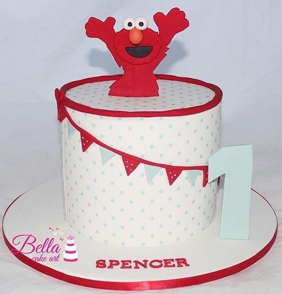 Super Elmo 1St Birthday Cake Personalised Birthday Cards Epsylily Jamesorg