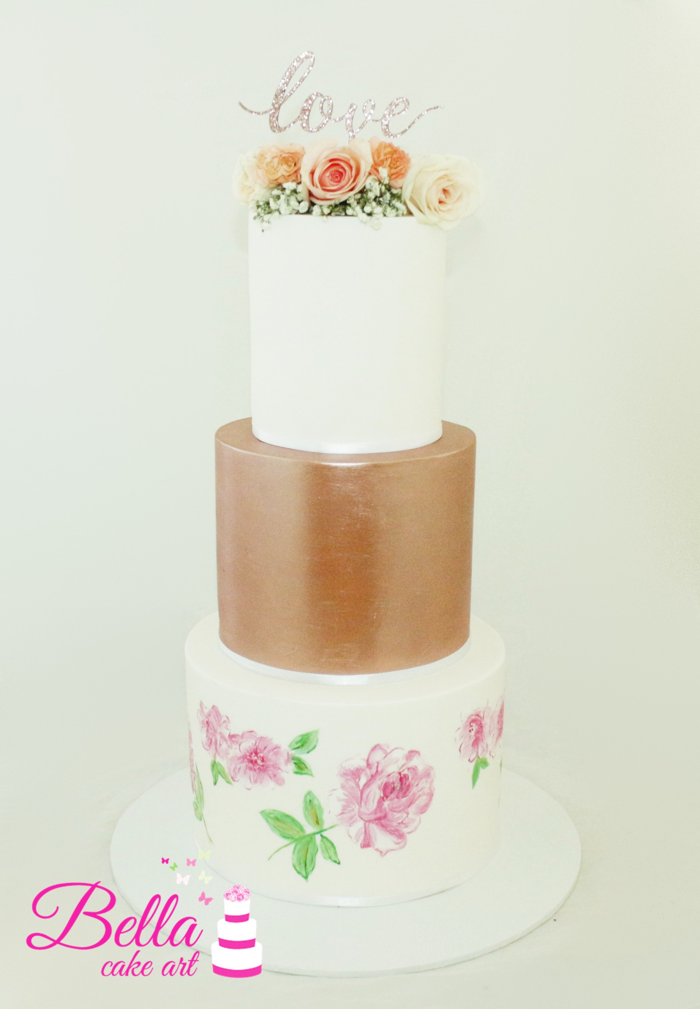 Wedding cake hand painted and fresh roses with Love topper